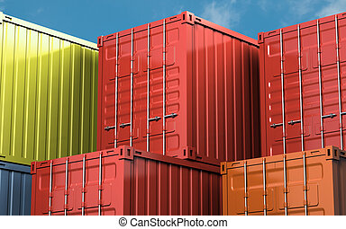 Cargo container - Stacked color cargo container over blue...