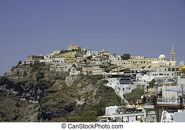 Fira village scenic view - view of Fira village, built over...