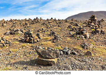 Landscape with Pyramids from stones, Iceland