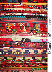 Handmade red Turkish Rugs as background