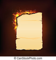 Burning Piece of Vintage Paper - illustration of burning...