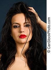 young brunette portrait - beautiful young brunette portrait...
