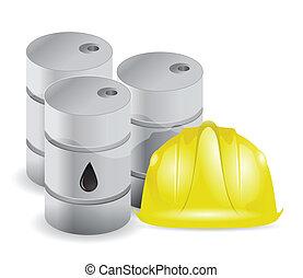 oil barrels and wiring helmet illustration design over white