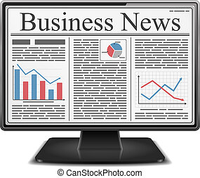 Business news on the screen of computer monitor, vector...