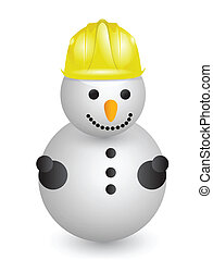snowman with construction helmet illustration design over...