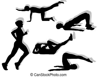 Fitness exercises - Woman in different poses as symbol of...