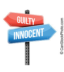 guilty, innocent road sign
