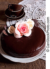 Dark Chocolate cake - A whole dark chocolate cake with...