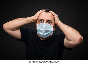 sick old man in medical mask - Portrait of sick old man in...