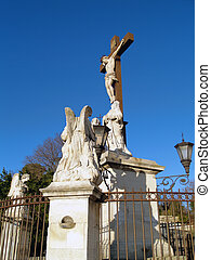 The Popes Palace in Avignon, France - Jesus Christ statue at...