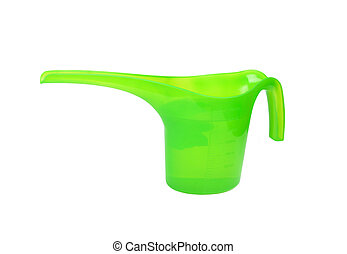 Plastic watering pot, isolated on white background