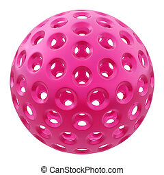 Pink plastic ball on white