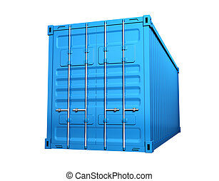 Cargo container - Blue cargo container - isolated on white...