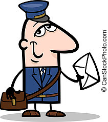 postman with letter cartoon illustration - Cartoon...