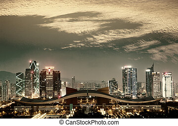 shengzhen - night scene of shenzhen special economic...