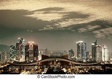 shengzhen - night scene of shenzhen special economic...