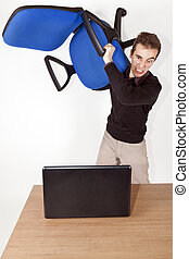 angry man with chair - isolated angry bussiness man with...