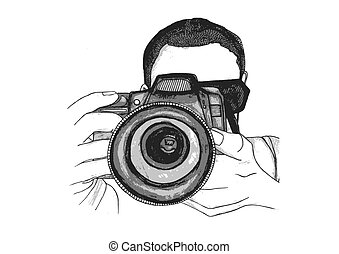 Photographer Taking a Picture - A vector watercolour...