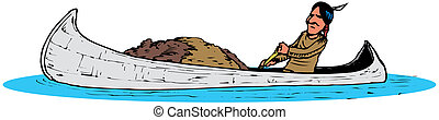 Indian in wooden boat - vector