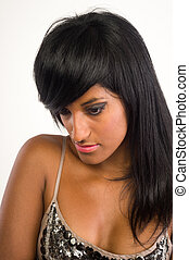 Beautiful Indian woman with long hair