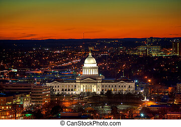 Little Rock at Dusk - Little Rock Capitol and city lights...