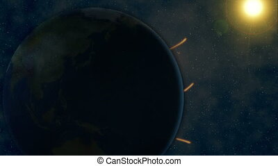 Connecting lines all over earth animation as seen from outer...