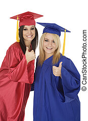 Graduation - Beautiful Caucasain girls in gratuation gowns...