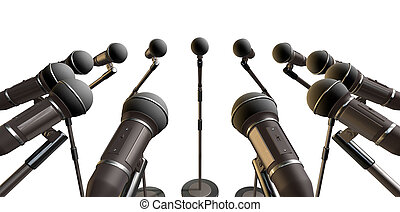 Microphones and Stands Array - An array of black plastic and...