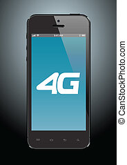 4G cell phone - Illustration of a black cell phone with 4G...