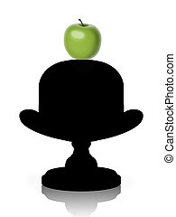 green apple on a old-fashioned hat