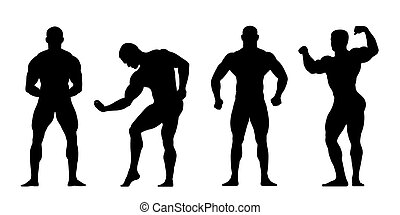 bodybuilders silhouettes - 4 realistic silhouettes of...