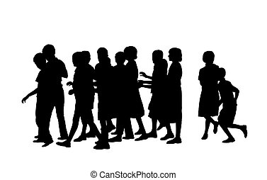 group of pupils silhouette - group of a dozen of children of...