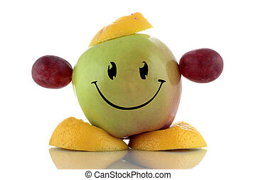 Happy diet Funny fruits character collection on white...