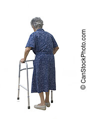 Maria_1733 - Elderly woman walking slowly on the white...