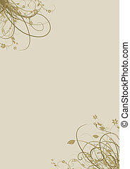 A4 page with beige floral elements - floral elements in the...