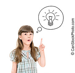 Eureka - Clever little girl with a bright idea symbol...