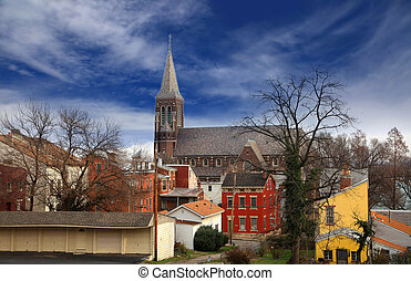 Cincinnati historic district - Historic church and old...