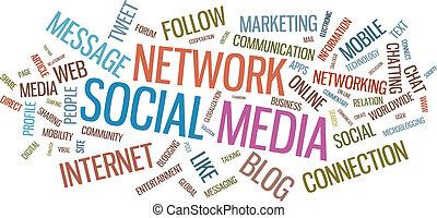 Social media typographical illustration - Social media word...