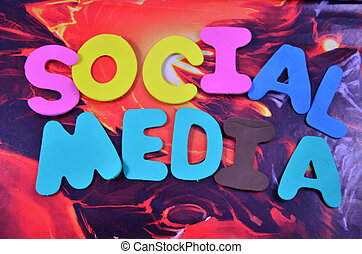 word social media on a abstract background