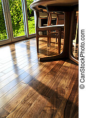 Hardwood floor - Hardwood walnut floor in residential home...