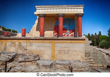 Knossos palace at Crete, Greece. - Knossos palace at Crete,...