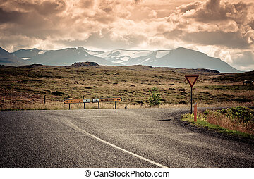 Road Junction at North Iceland Mountain Landscape - Road...