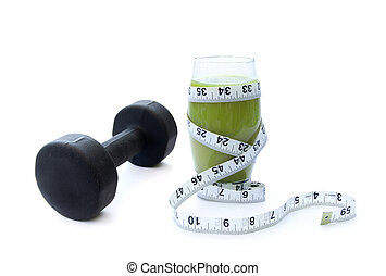 Dumbell and green smoothie - Vegetable protein smoothie...