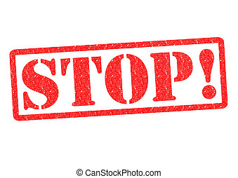 STOP! rubber stamp over a white background.