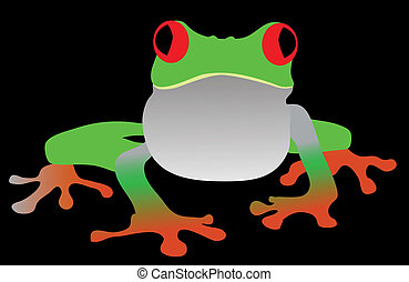 Green Frog Vector Illustration isolated on black