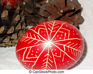 paste-egg and pine-cone - paste-egg with pine-cone