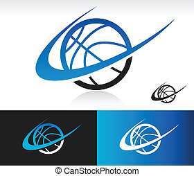 Swoosh Basketball Icon - Basketball icon with swoosh graphic...