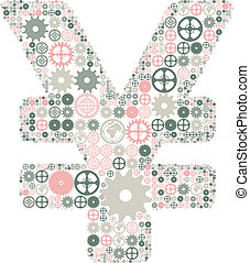 Japanese yen sign made of colored gears - Japanese yen sign...