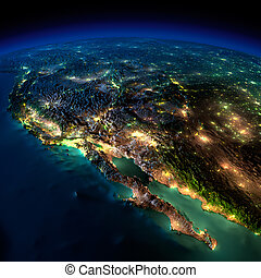 Night Earth. A piece of North America - Mexico - Highly...