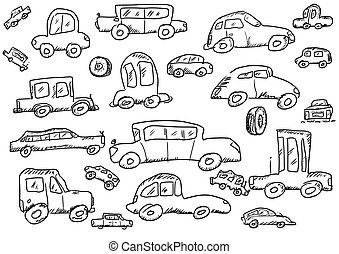 cars doodle icons set